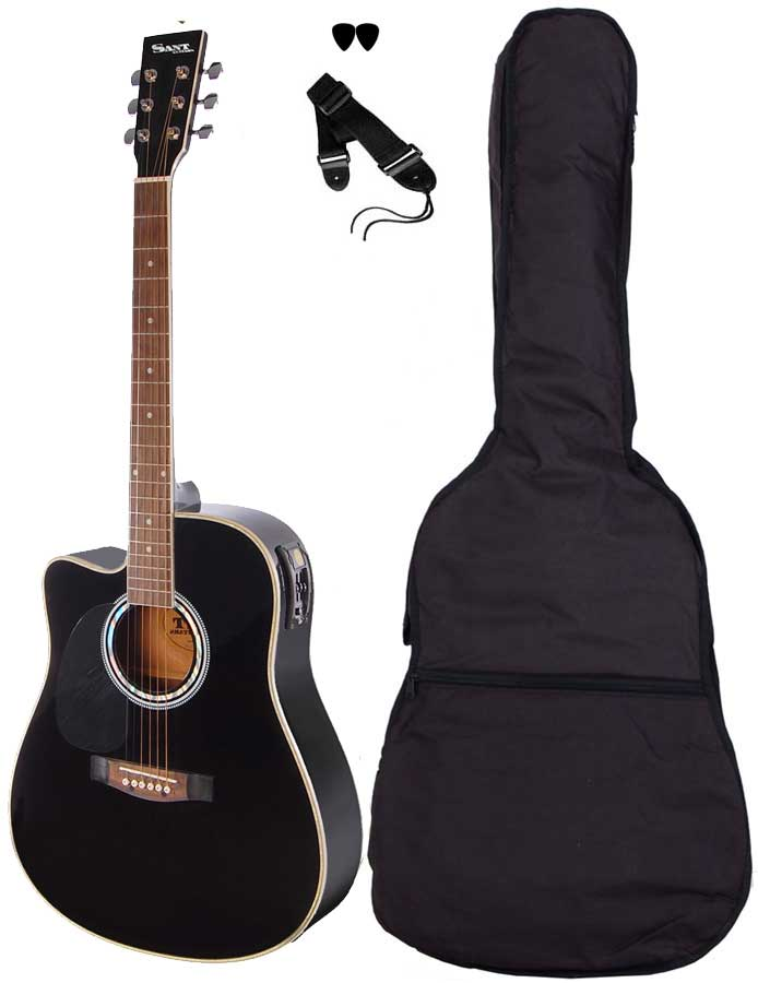 Image of   SantGuitars AC-82EQL-BK venstrehånds-guitar sort