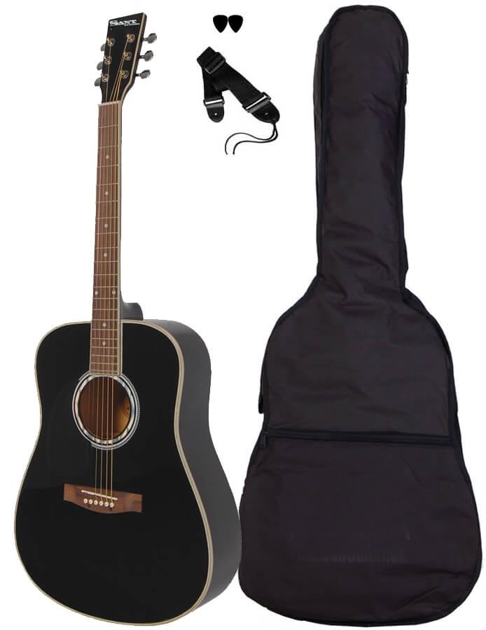 SantGuitars AC-80L-BK venstrehånds-western-guitar sort