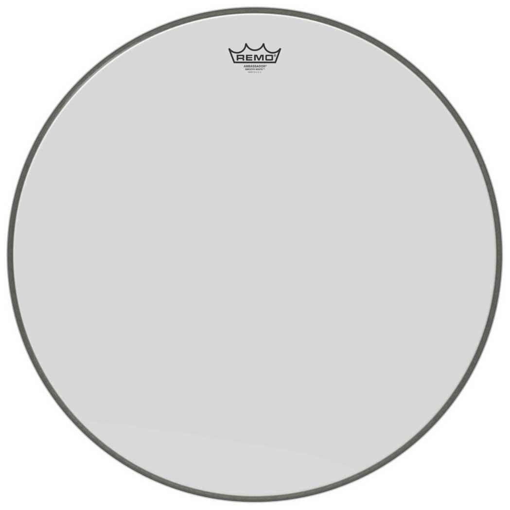 Image of   Remo BR-1222-00 Ambassador 22 White Smooth stortrommeskind