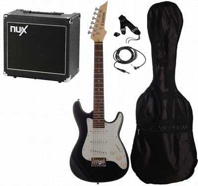 Chateau C08-ST1 3/4 børne-el-guitar, sort, PAKKE 3