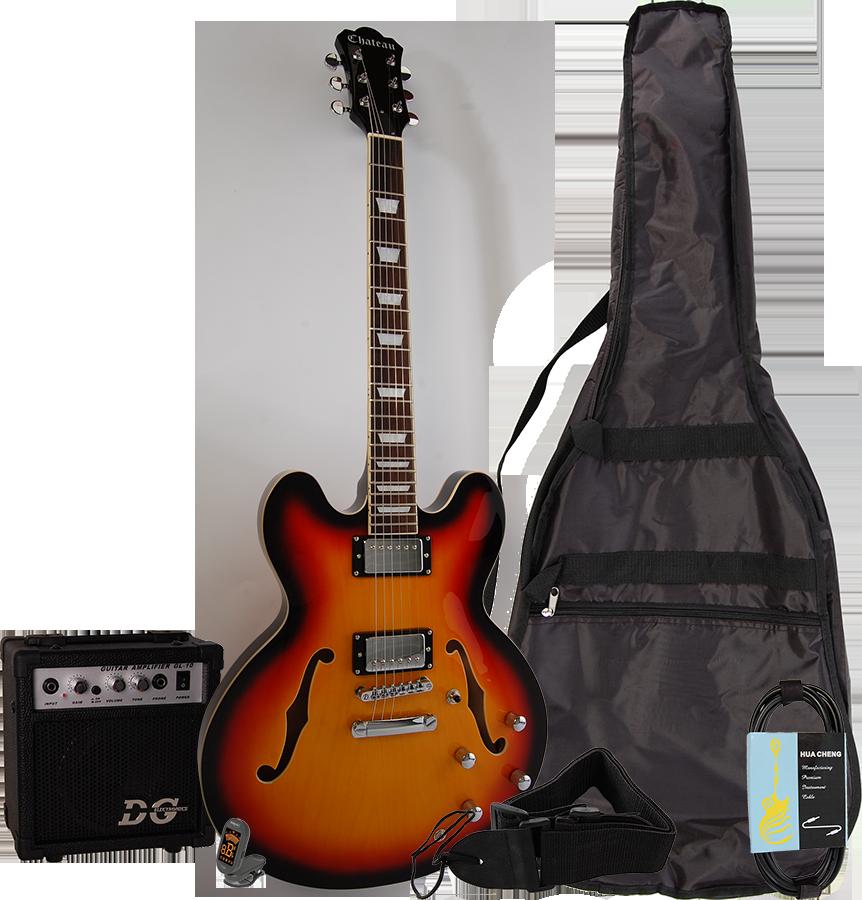 Billede af Chateau C08-JG1 semi-akustisk el-guitar, sunburst, PAKKE 1