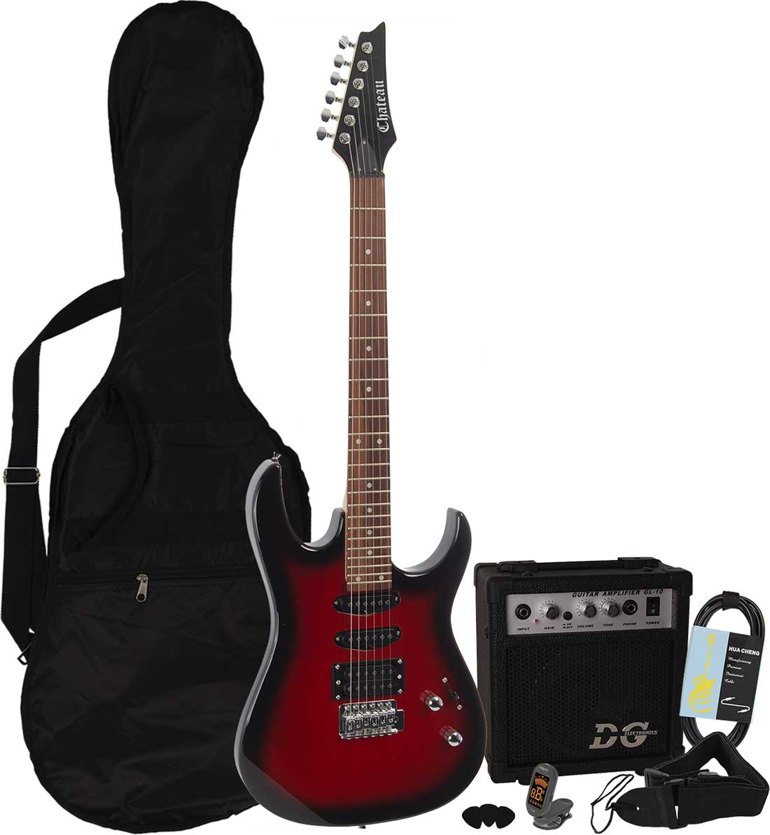 Billede af Chateau C08-IB2 el-guitar, rød, PAKKE 1