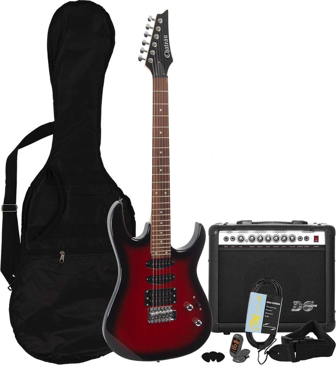 Billede af Chateau C08-IB2 el-guitar, rød, PAKKE 2