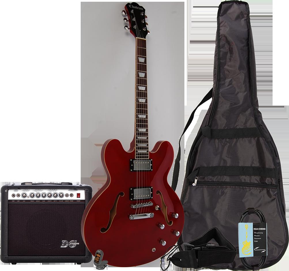 Billede af Chateau C08-JG1 semi-akustisk el-guitar, rød, PAKKE 2