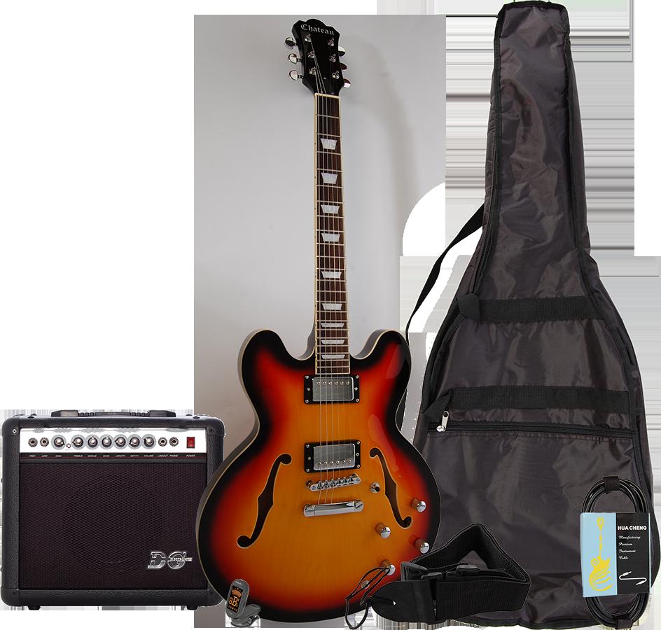 Billede af Chateau C08-JG1 semi-akustisk el-guitar, sunburst, PAKKE 2