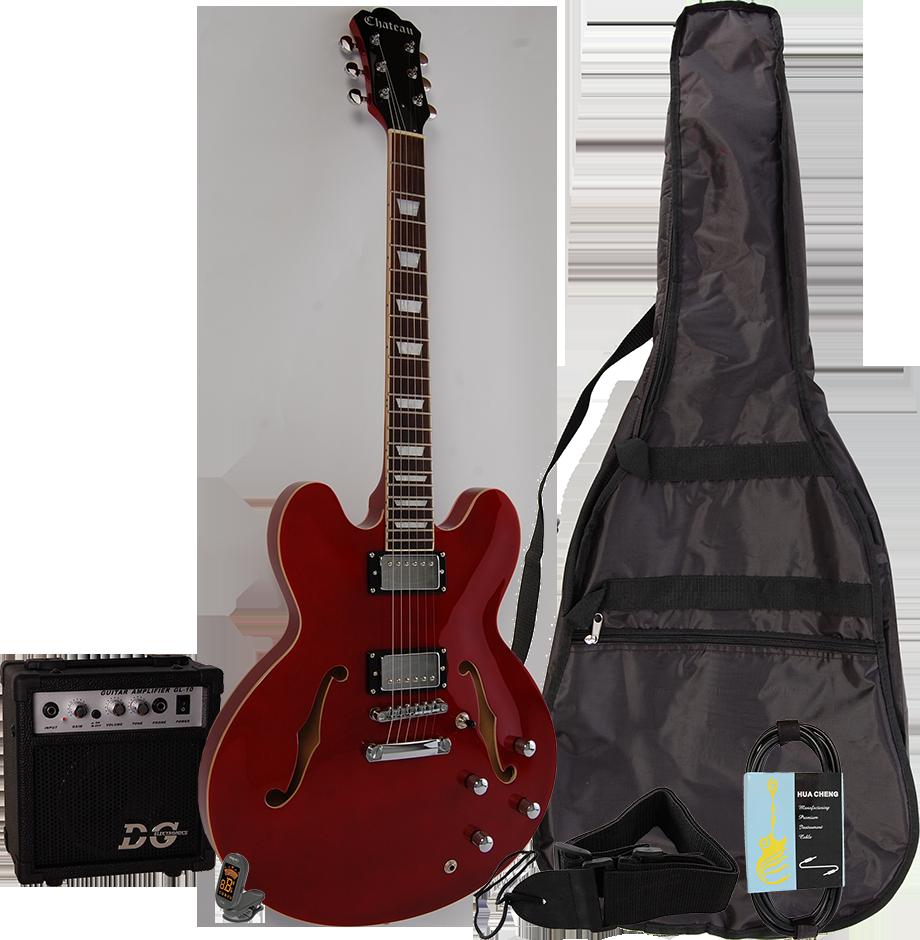 Billede af Chateau C08-JG1 semi-akustisk el-guitar, rød, PAKKE 1