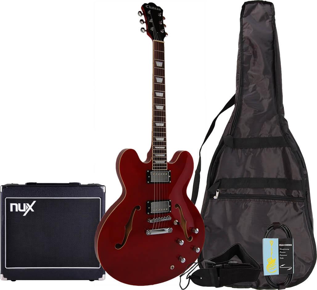Chateau C08-JG1 semi-akustisk el-guitar, rød, PAKKE 3