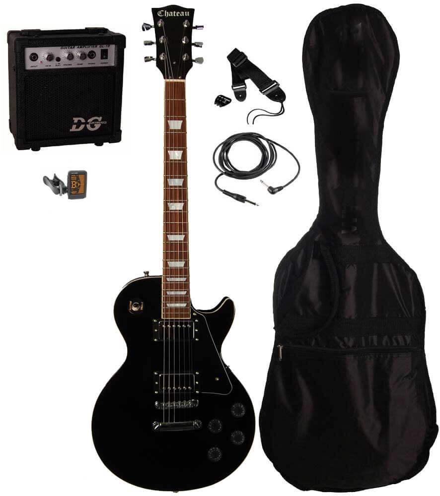 Billede af Chateau C08-LP2 el-guitar, sort, PAKKE 1