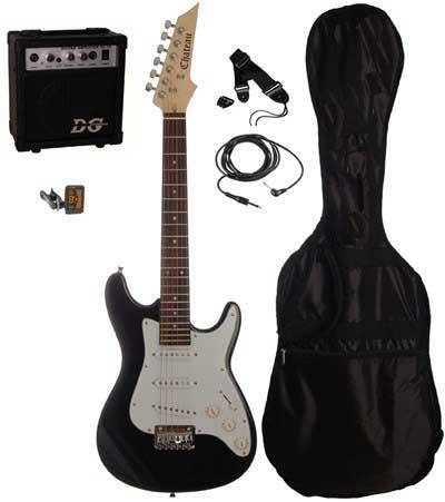 Chateau C08-ST1 3/4 børne-el-guitar, sort, PAKKE 1