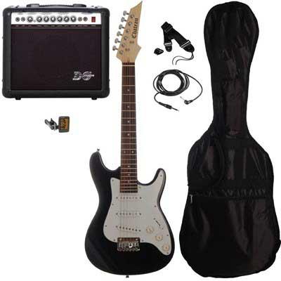 Chateau C08-ST1 3/4 børne-el-guitar, sort, PAKKE 2
