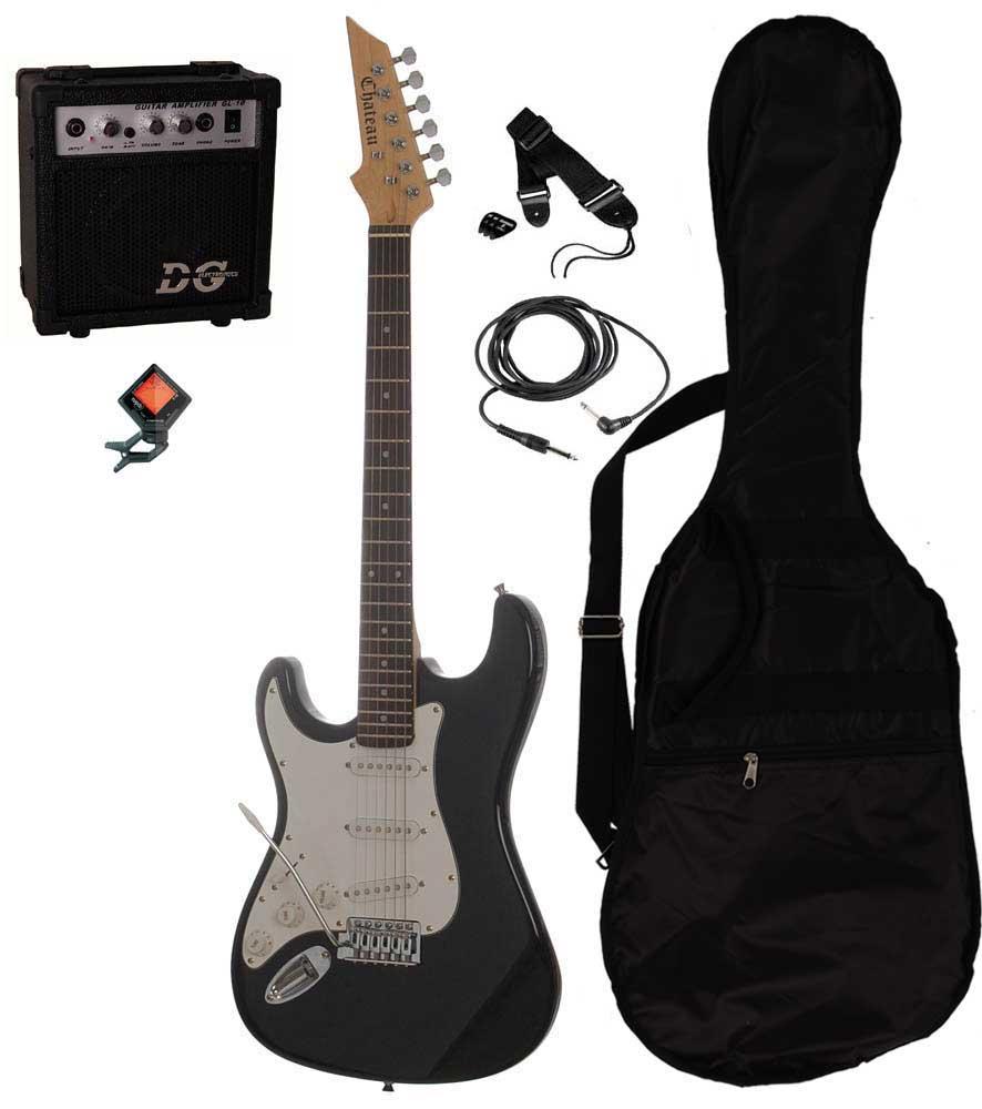Chateau C08-ST1 vänsterhänt elgitarr svart PAKET 1