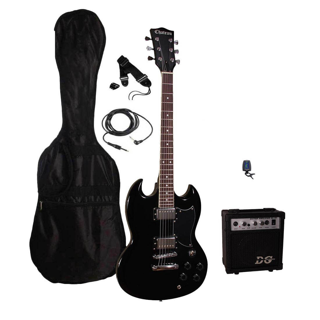 Chateau DC30-BK el-guitar sort, pakke 1