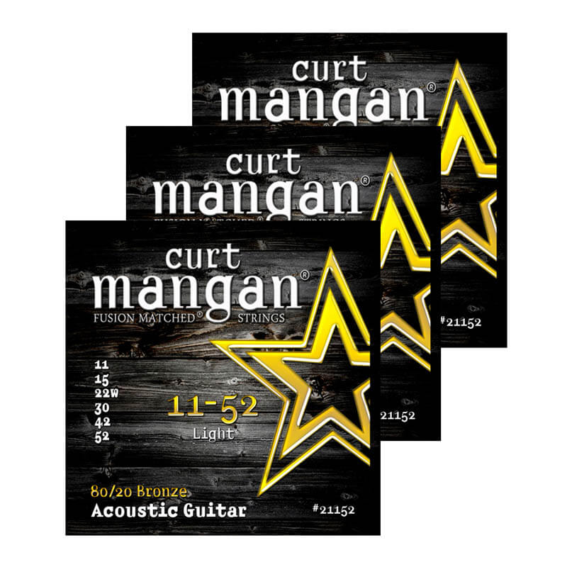 Image of   Curt Mangan 21152 80/20 Bronze western-guitarstrenge 011-052, 3-Pack