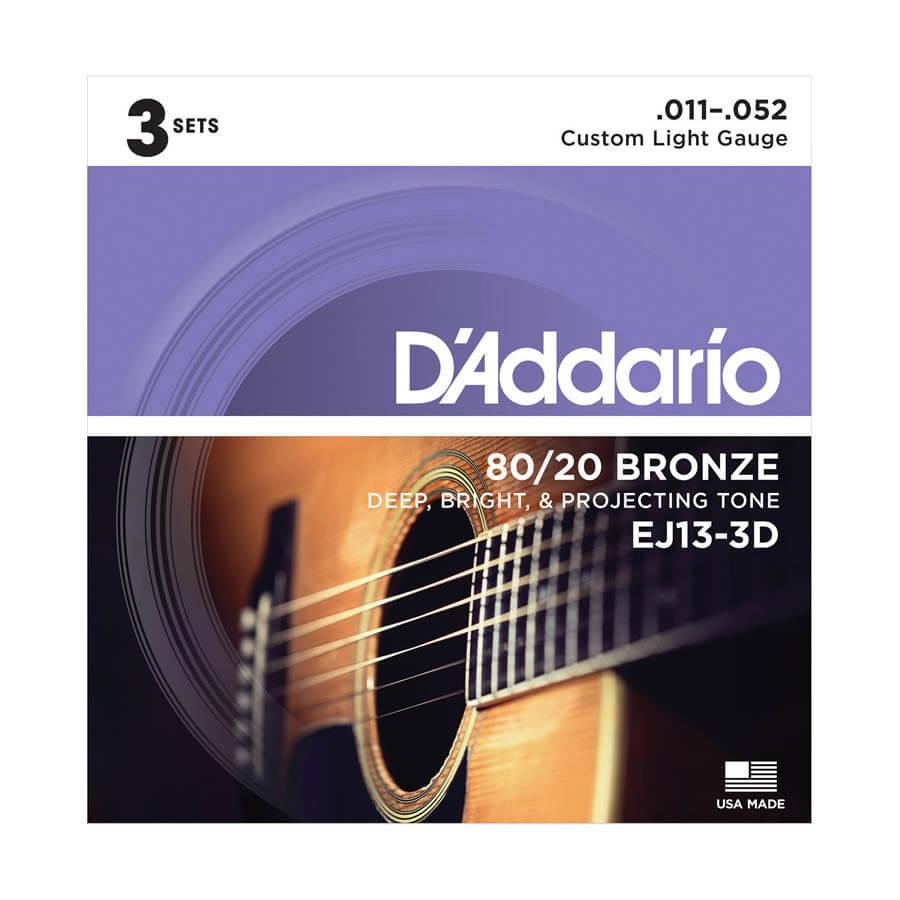 Image of   DAddario EJ13-3D western-guitar-strenge, 011-052 (3 sæt)