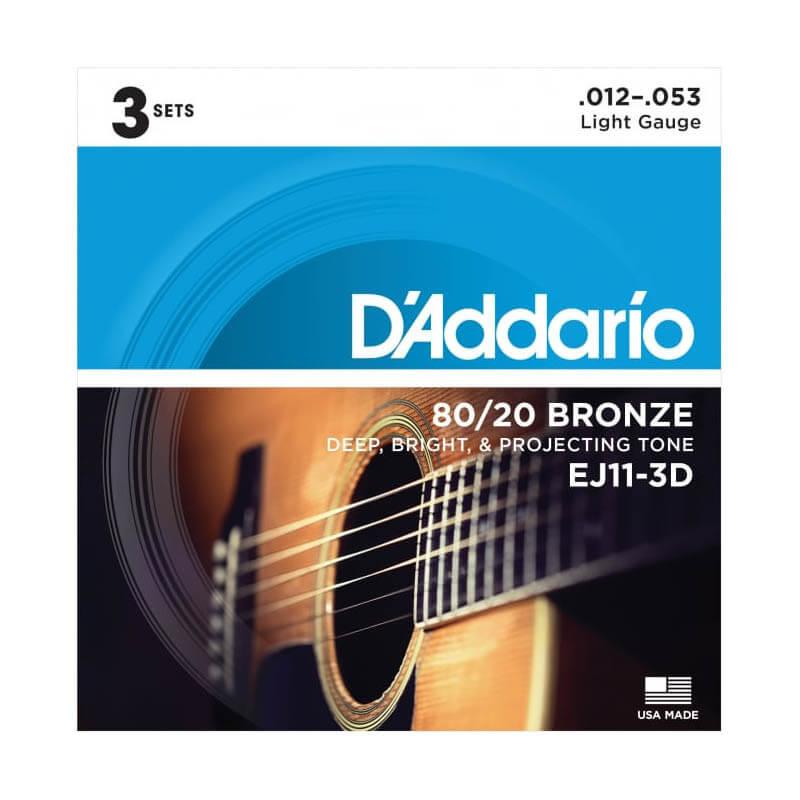 Image of   D'Addario EJ11-3D western-guitar-strenge, 012-053 (3 sæt)