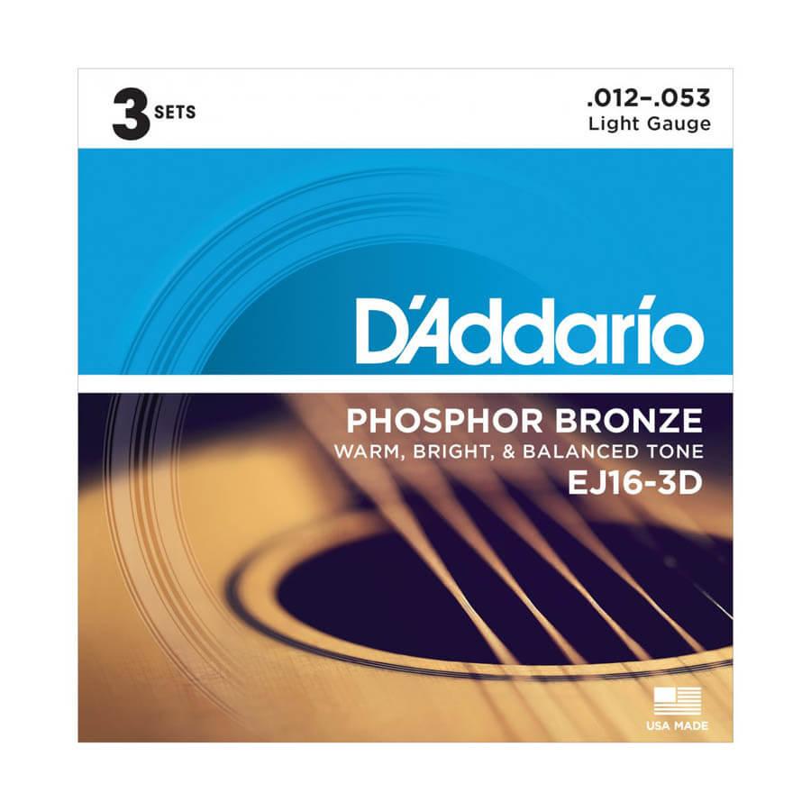 Image of   D'Addario EJ16-3D western-guitar-strenge, 012-053 (3 sæt)