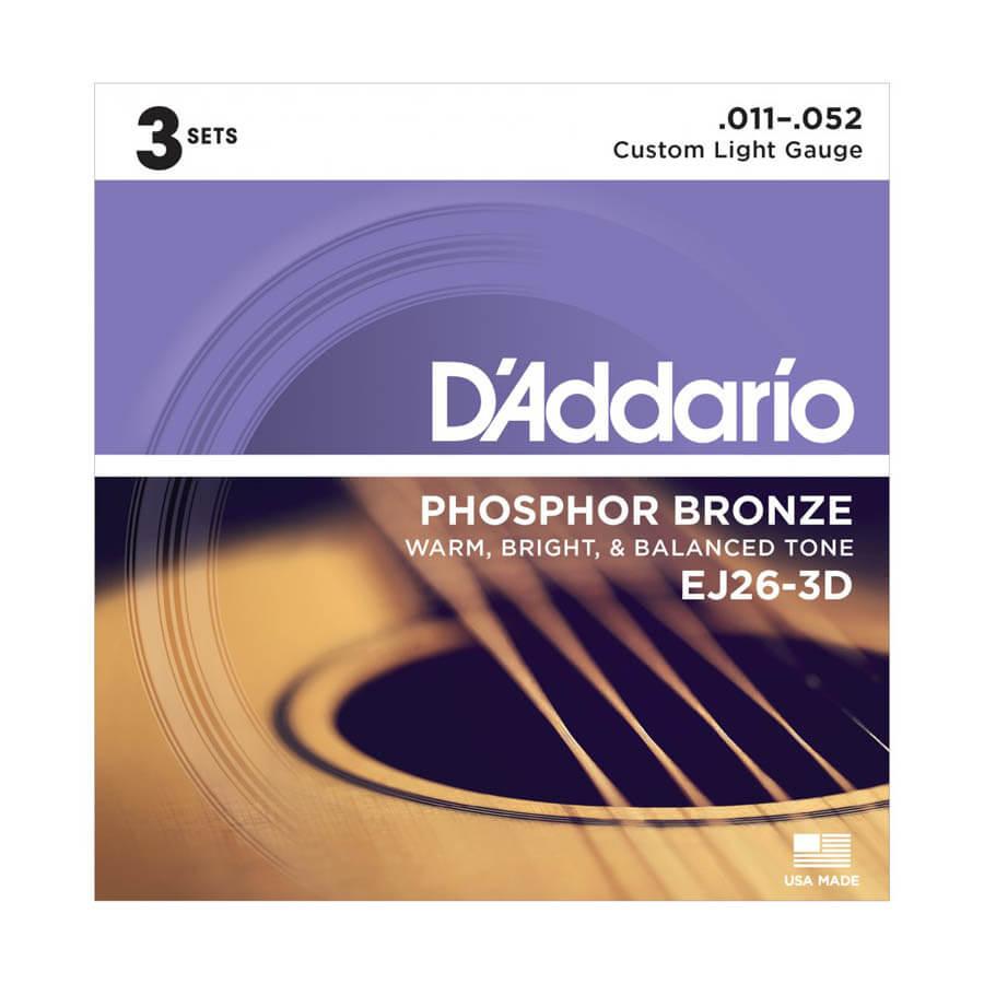Image of   D'Addario EJ26-3D western-guitar-strenge, 011-052 (3 sæt)