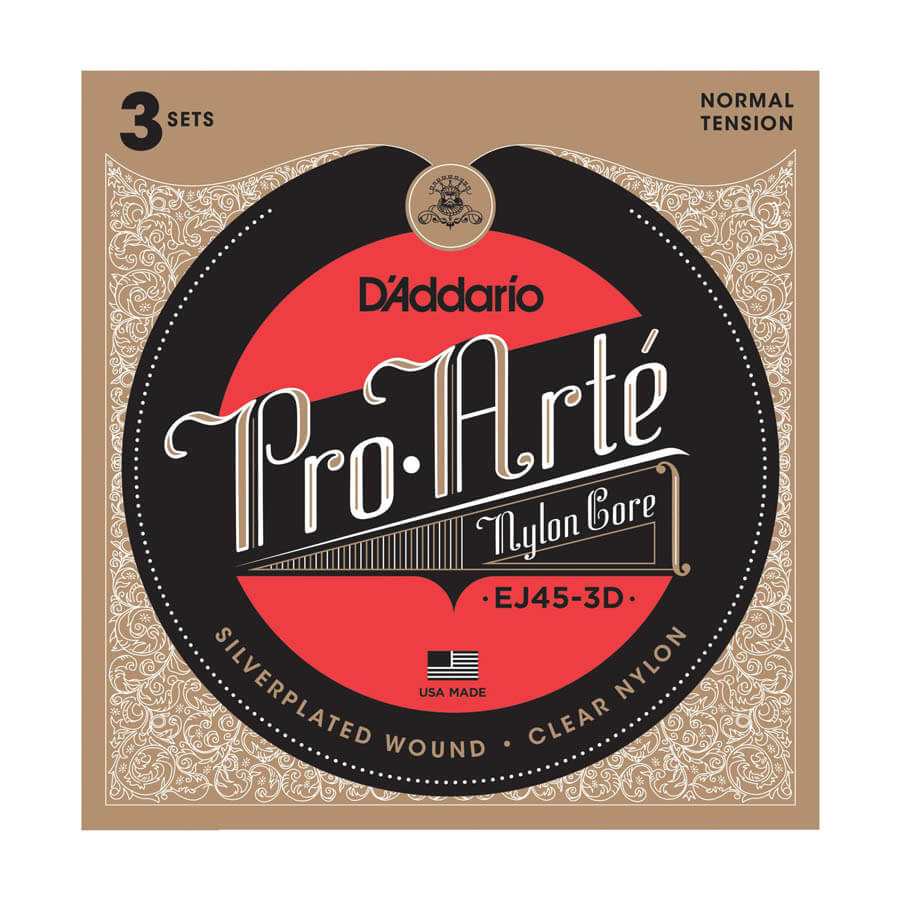 Image of   D'Addario EJ45-3D spansk guitar-strenge, normal tension (3 sæt)