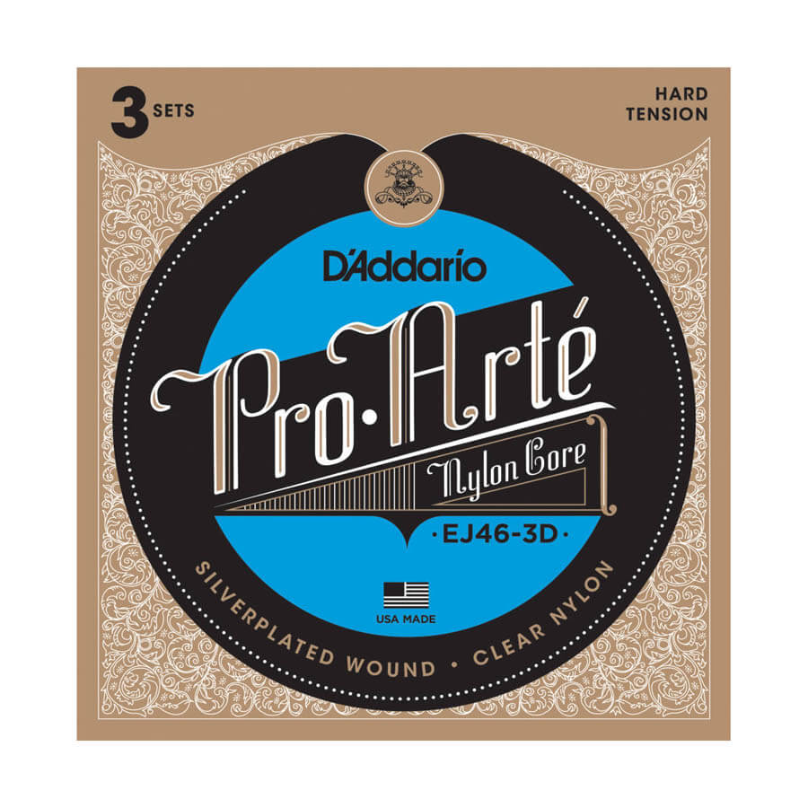 Image of   D'Addario EJ46-3D spansk guitar-strenge, hard tension (3 sæt)