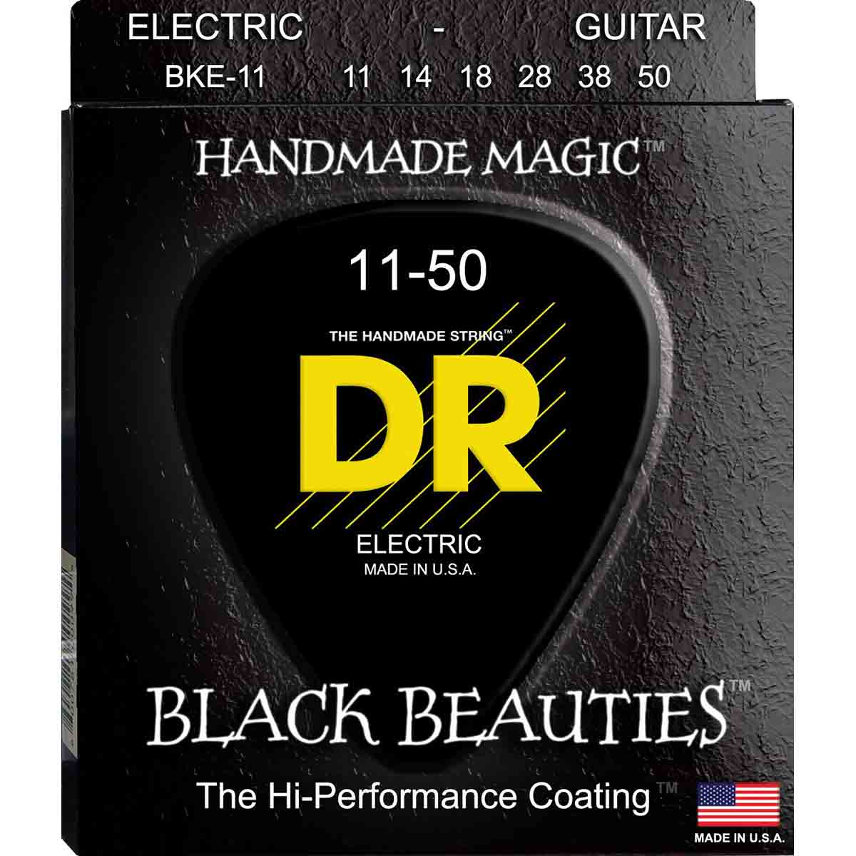 Image of   DR Strings BKE-11 Black Beauties black el-guitar-strenge, 011-050