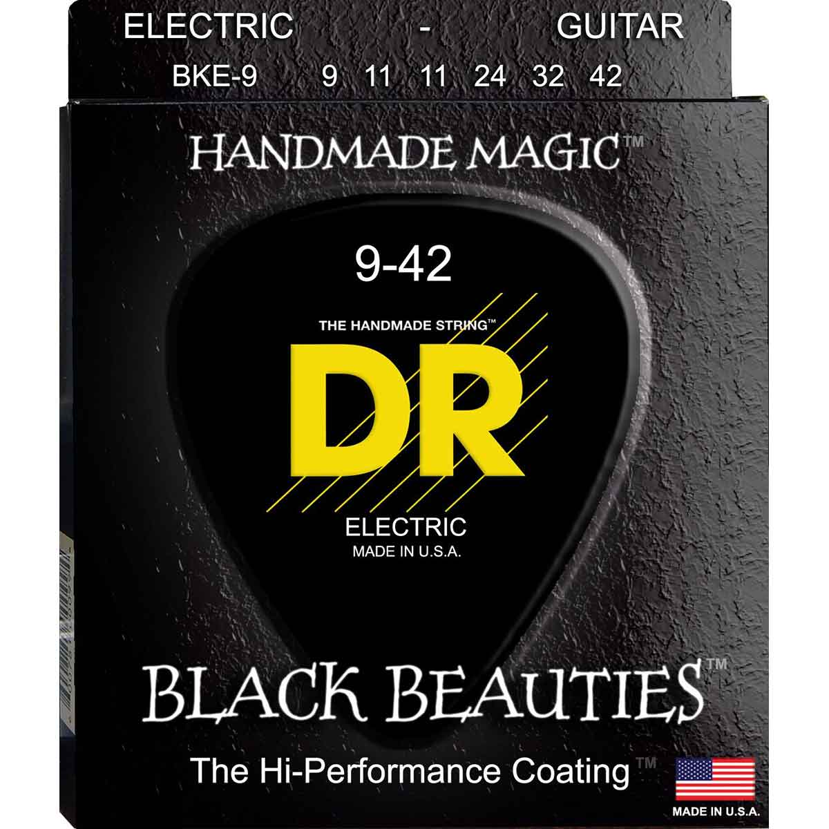 Image of   DR Strings BKE-9 Black Beauties black el-guitar-strenge, 009-042