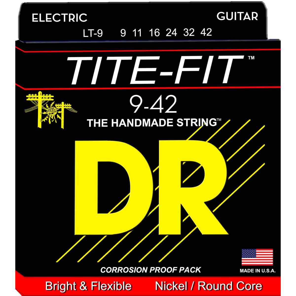 Image of   DR Strings LT-9 Tite-fit el-guitar-strenge, 009-042