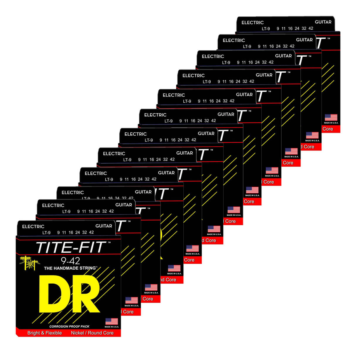 Image of   DR Strings LT-9 Tite-fit el-guitar-strenge, 009-042, 12-pack