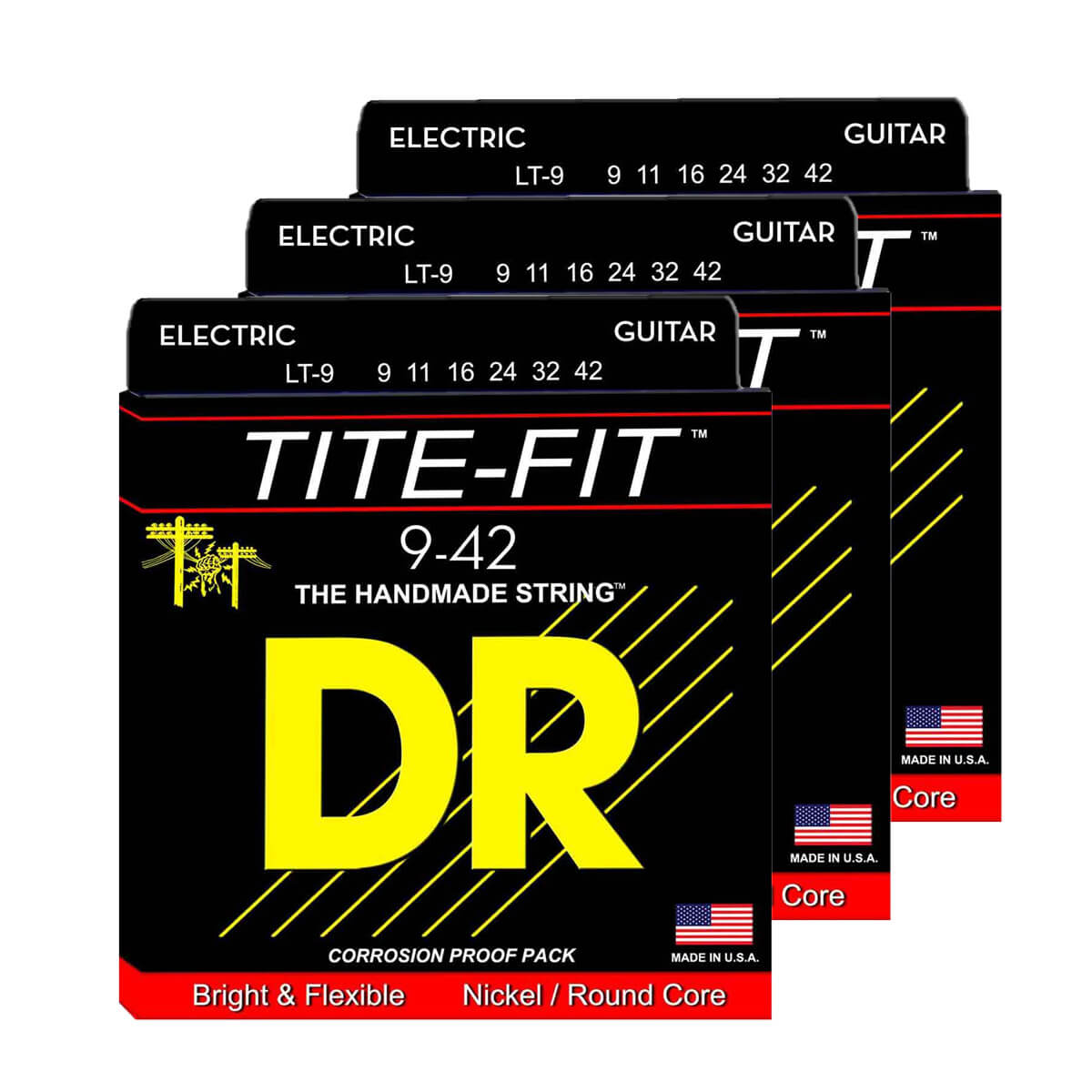 Image of   DR Strings LT-9 Tite-fit el-guitar-strenge, 009-042, 3-pack