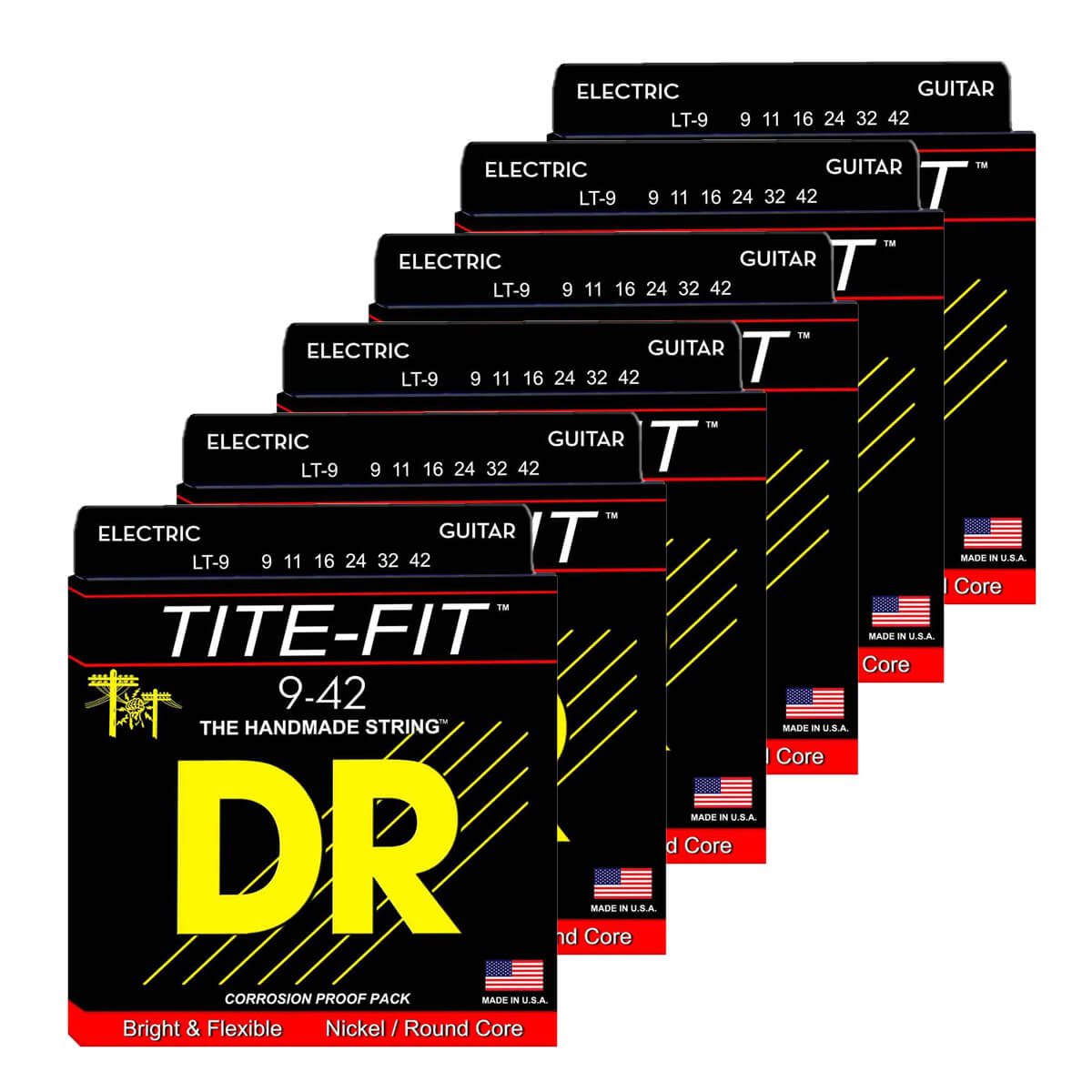 Image of   DR Strings LT-9 Tite-fit el-guitar-strenge, 009-042, 6-pack