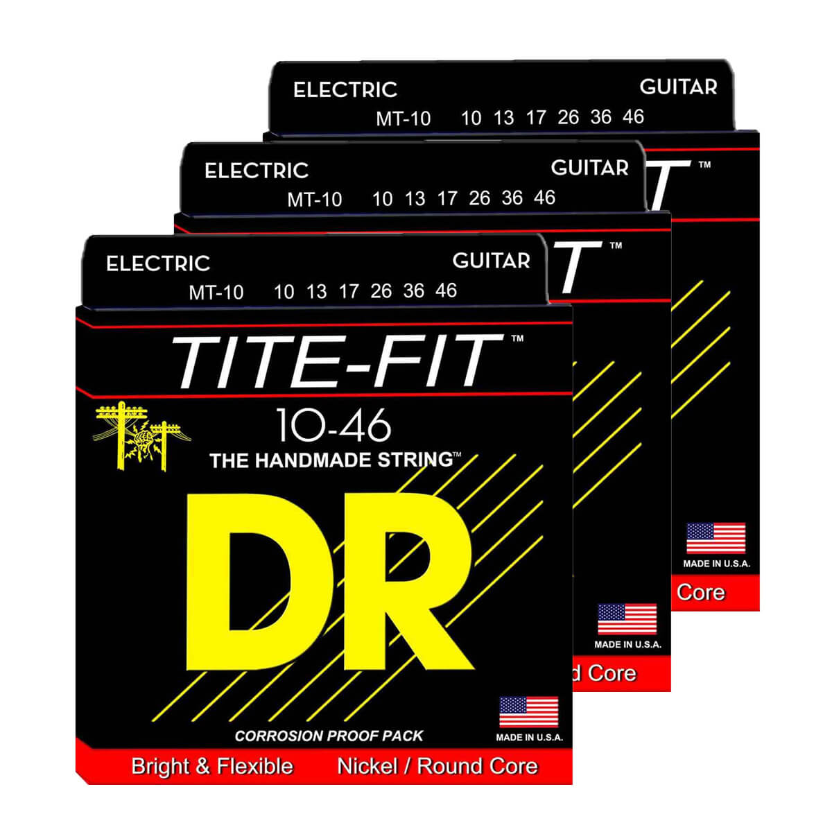 Image of   DR Strings MT-10 Tite-fit el-guitar-strenge, 010-046, 3-pack