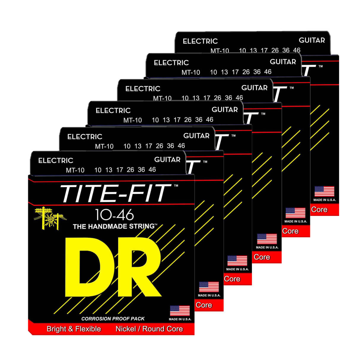 Image of   DR Strings MT-10 Tite-fit el-guitar-strenge, 010-046, 6-pack