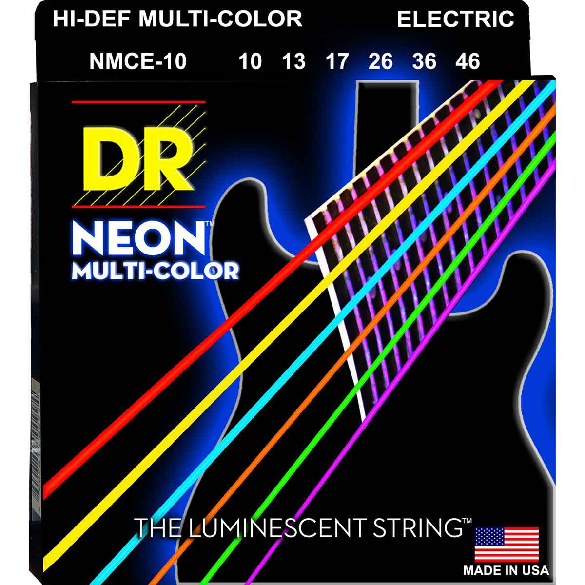 Image of   DR Strings NMCE-10 Hi-Def neon multi-color el-guitar-strenge, 010-046