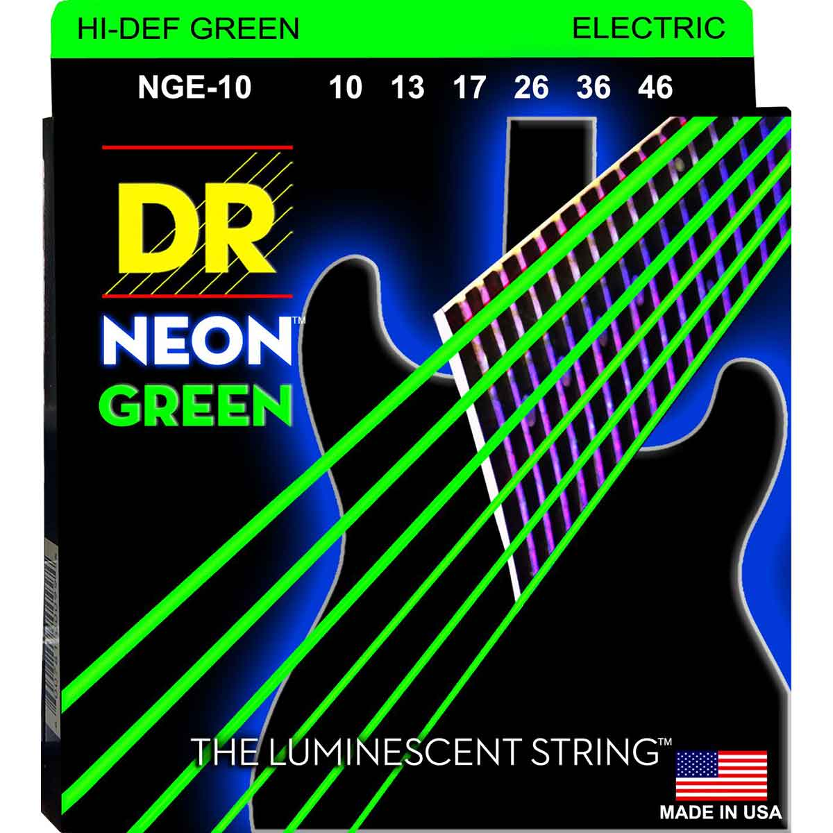 Image of   DR Strings NGE-10 Hi-Def neon green el-guitar-strenge, 010-046