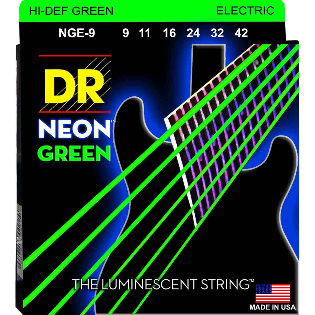 Image of   DR Strings NGE-9 Hi-Def neon green el-guitar-strenge, 009-042