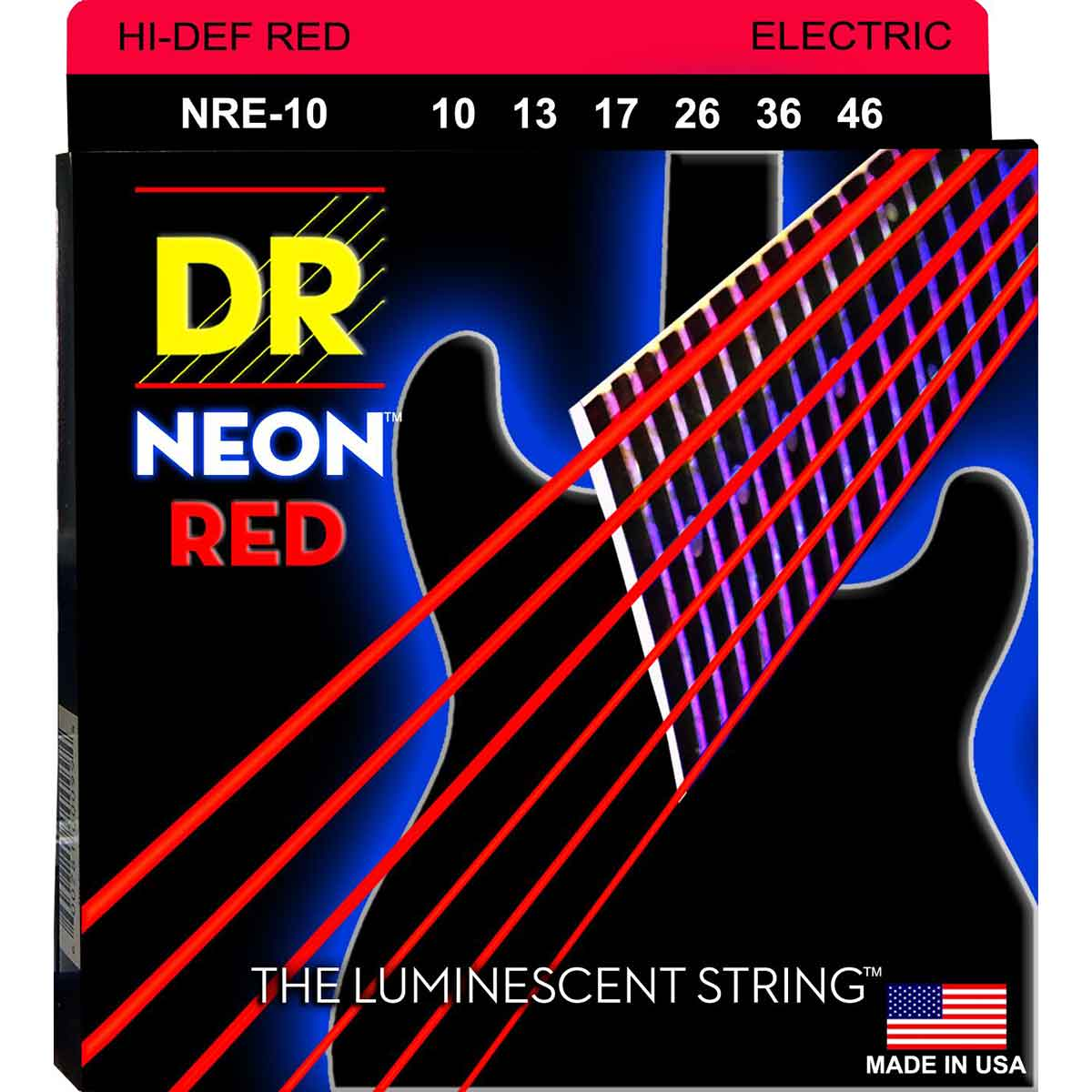 Image of   DR Strings NRE-10 Hi-Def neon red el-guitar-strenge, 010-046