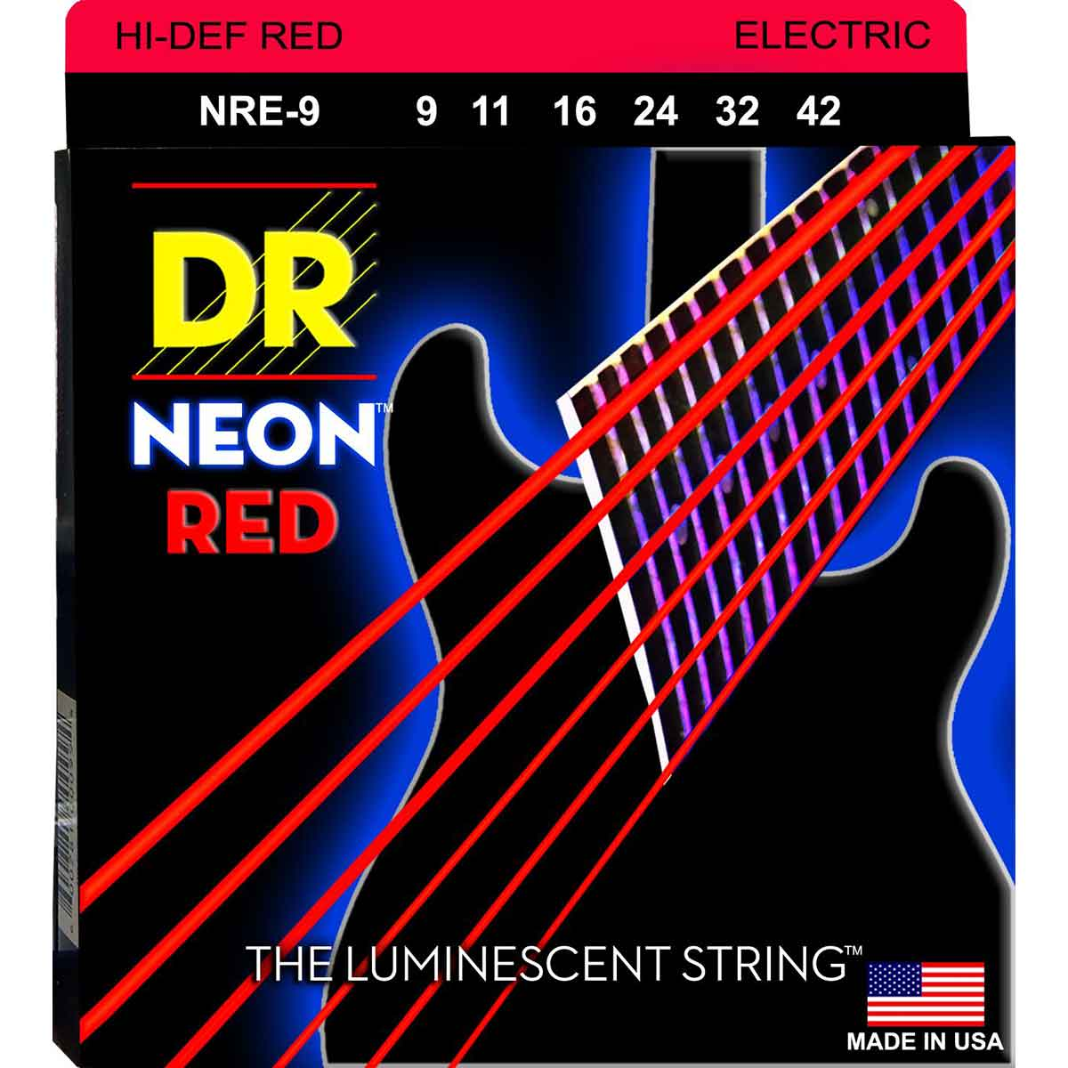 Image of   DR Strings NRE-9/46 Hi-Def neon red el-guitar-strenge, 009-046