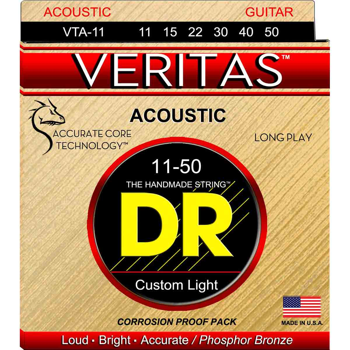 Image of   DR Strings VTA-11 Veritas western-guitar-strenge, 011-050