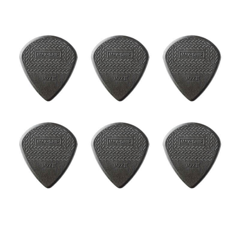 Image of   Dunlop Nylon Max Grip Jazz III Carbon plektre (6 stk.)