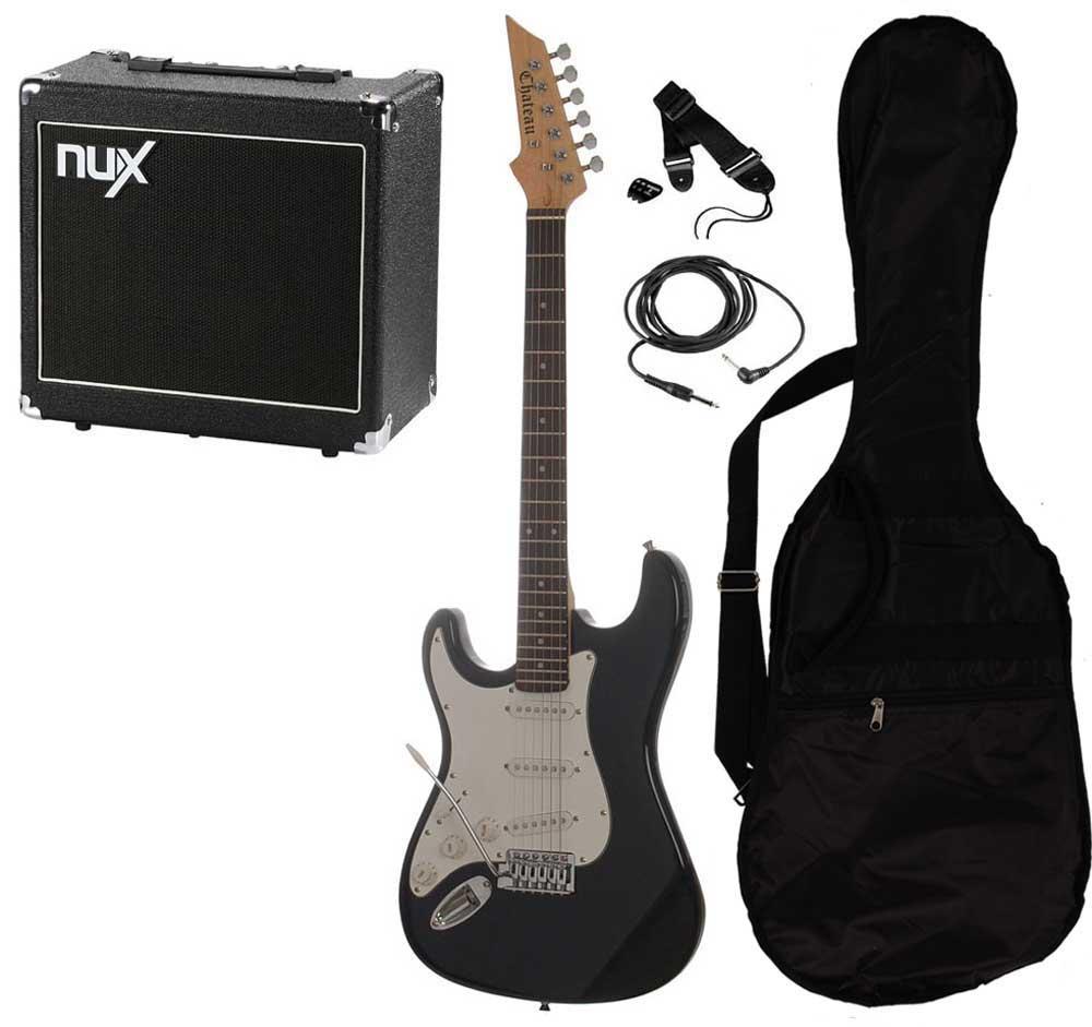 Billede af Chateau C08-ST1 venstrehånds el-guitar sort PAKKE 3