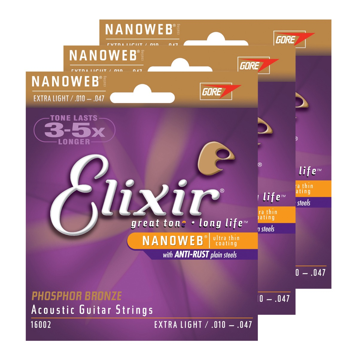 Image of   Elixir 16002 NanoWeb Phosphor western-guitar-strenge, extra light, 010-047, 3-pack