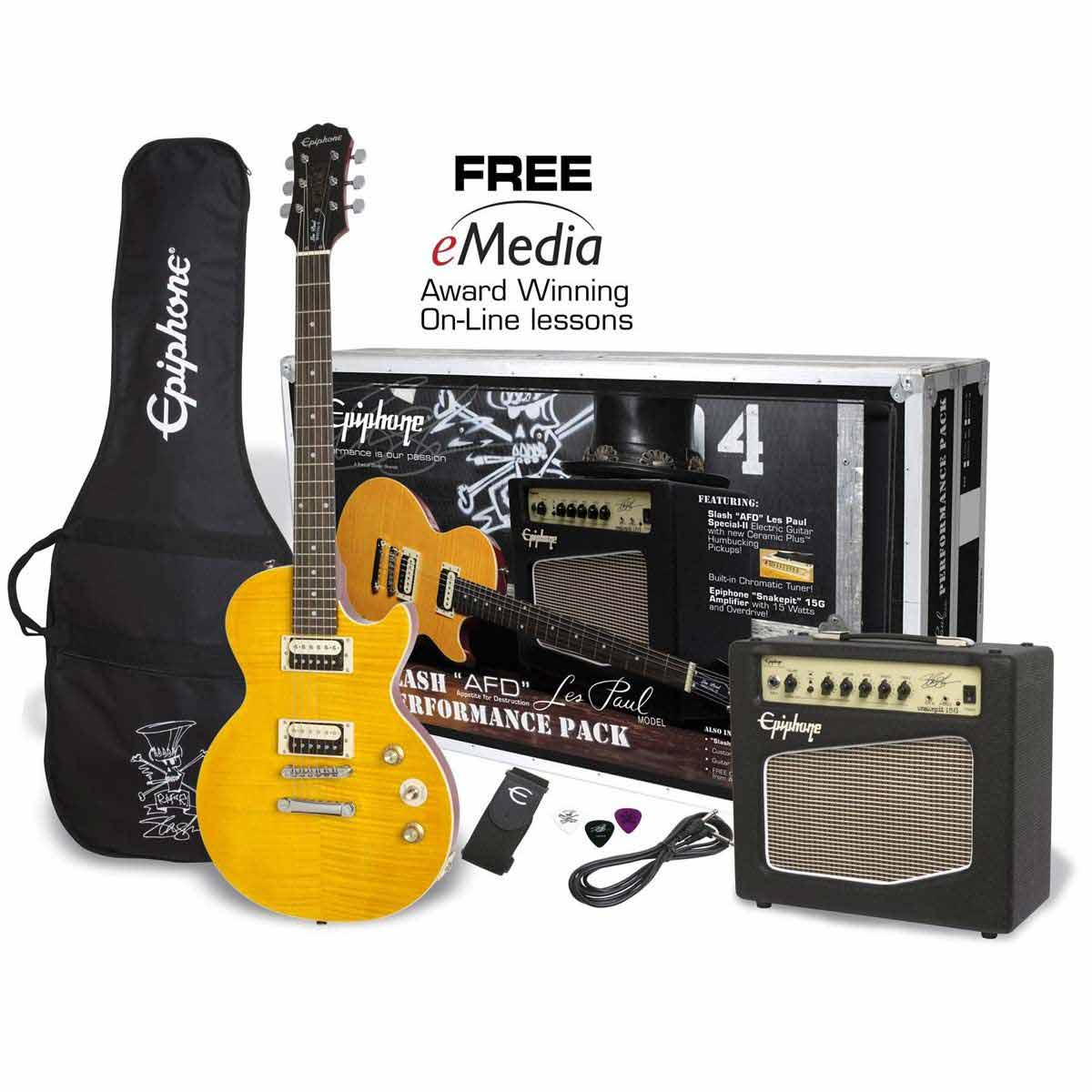 Image of   Epiphone Slash AFD Les Paul Performance Pack el-guitar,pakkeløsning