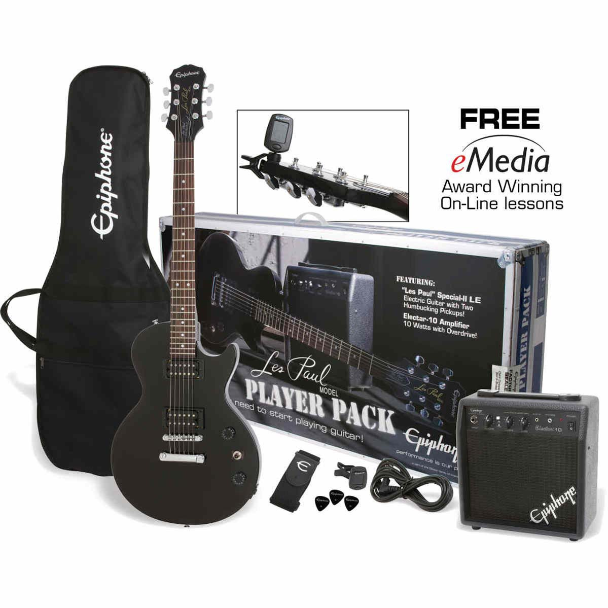 Epiphone Les Paul Player Pack el-guitar,pakkeløsning Ebony