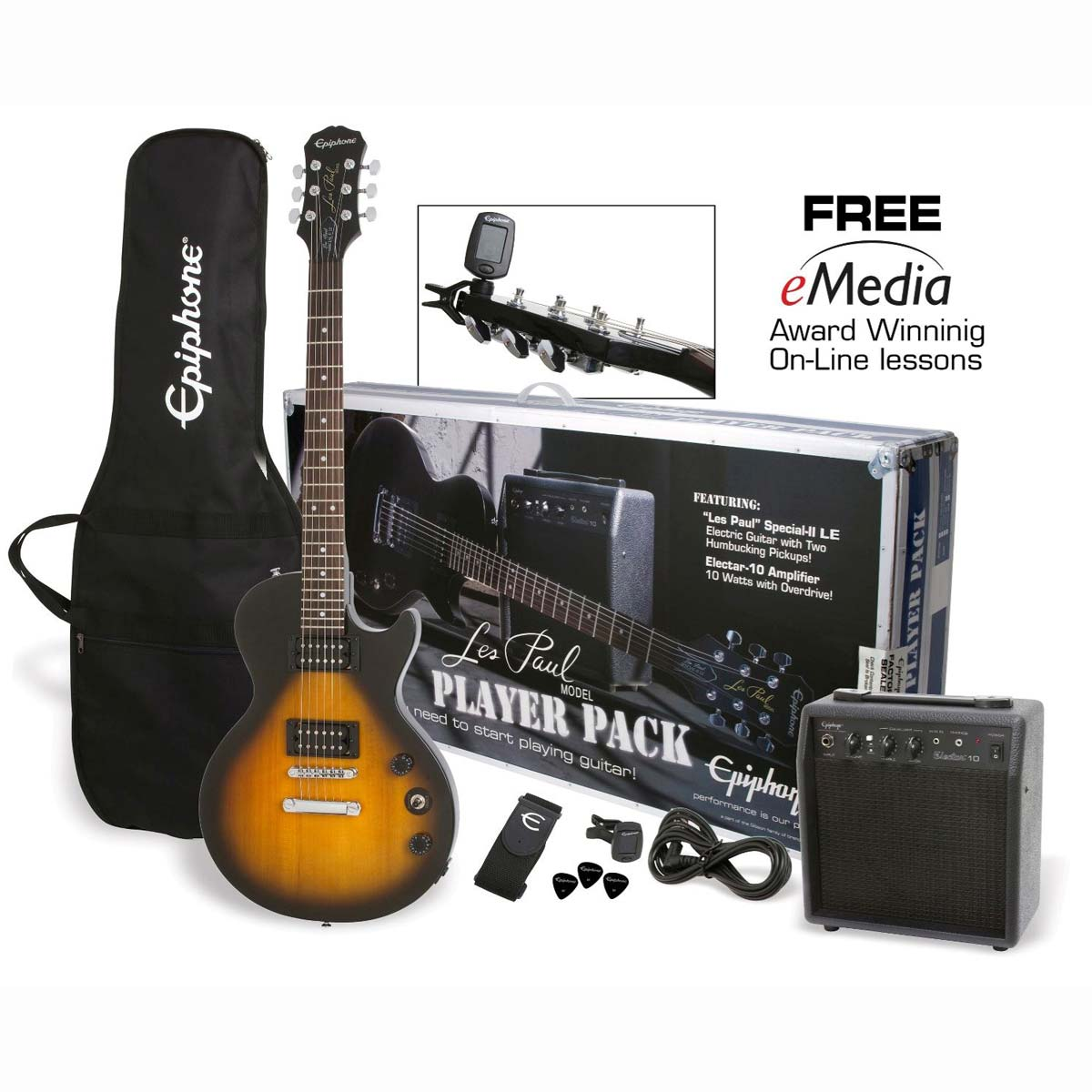 Epiphone Les Paul Player Pack el-guitar,pakkeløsning Vintage Sunburst