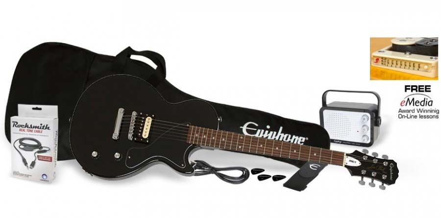 Image of   Epiphone PRO-1 Les Paul Jr. Pack el-guitar,pakkeløsning ebony
