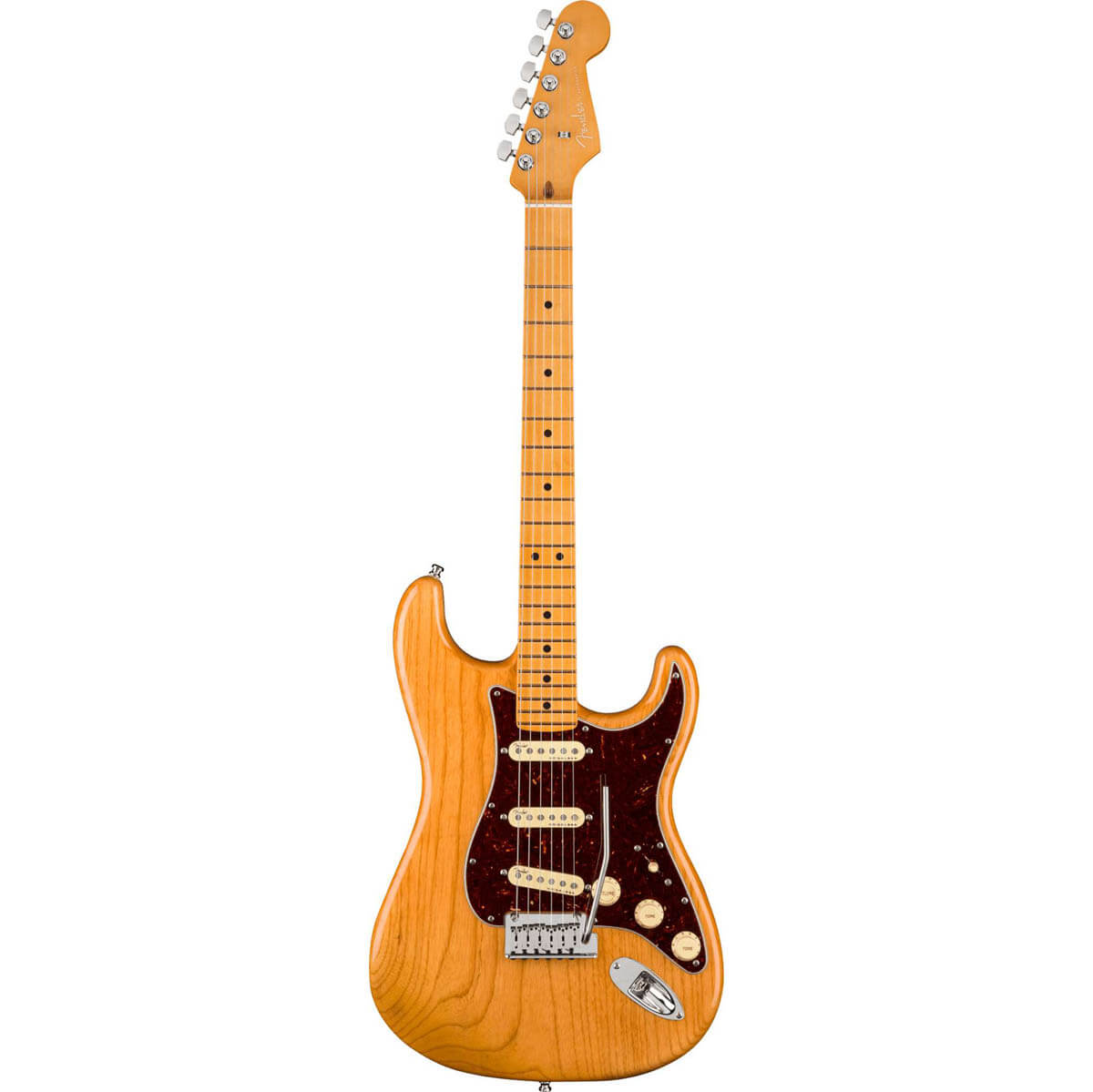 Image of   Fender American Ultra Stratocaster, MN, AGN el-guitar aged natural