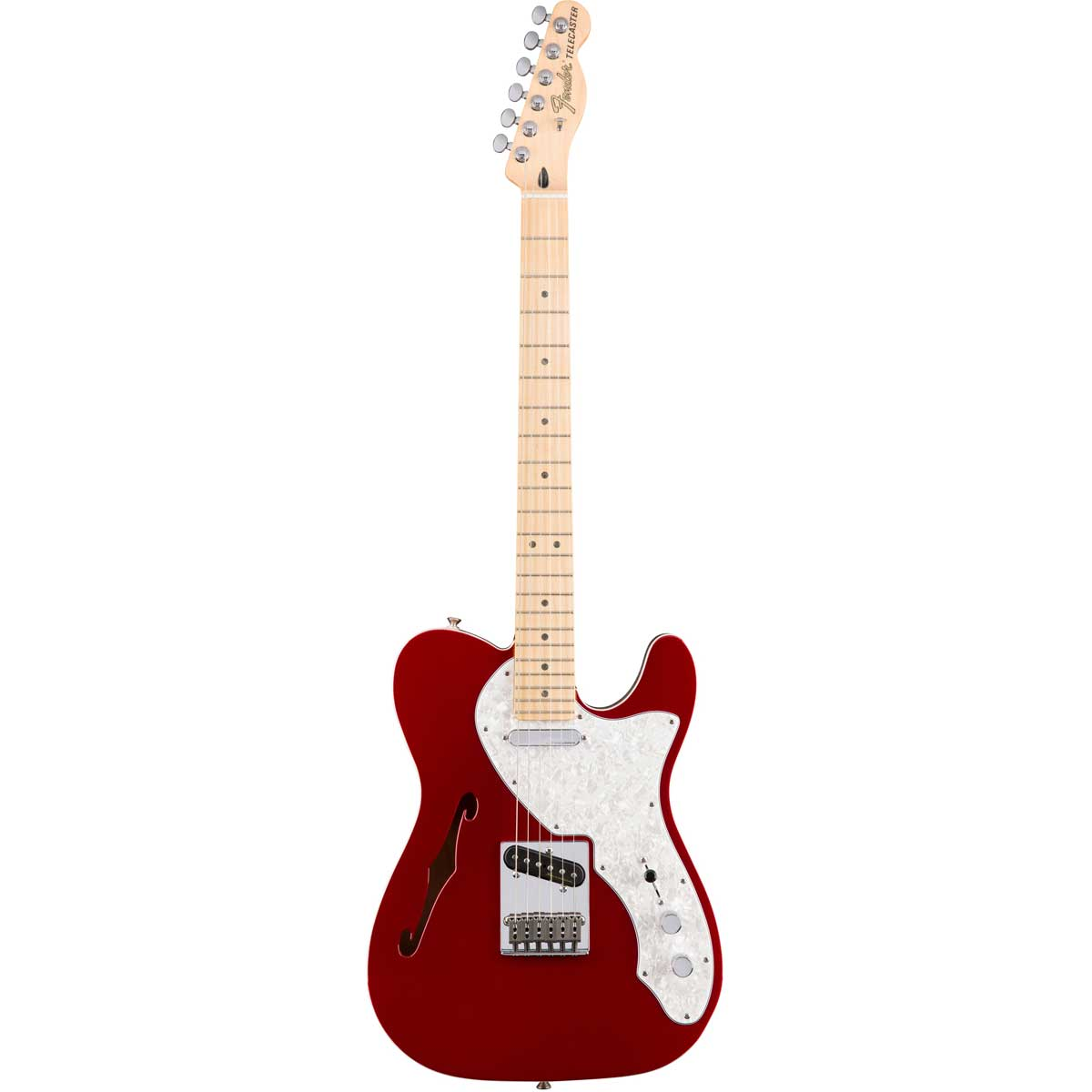 Fender Deluxe Telecaster Thinline, MN, CAR el-guitar rød