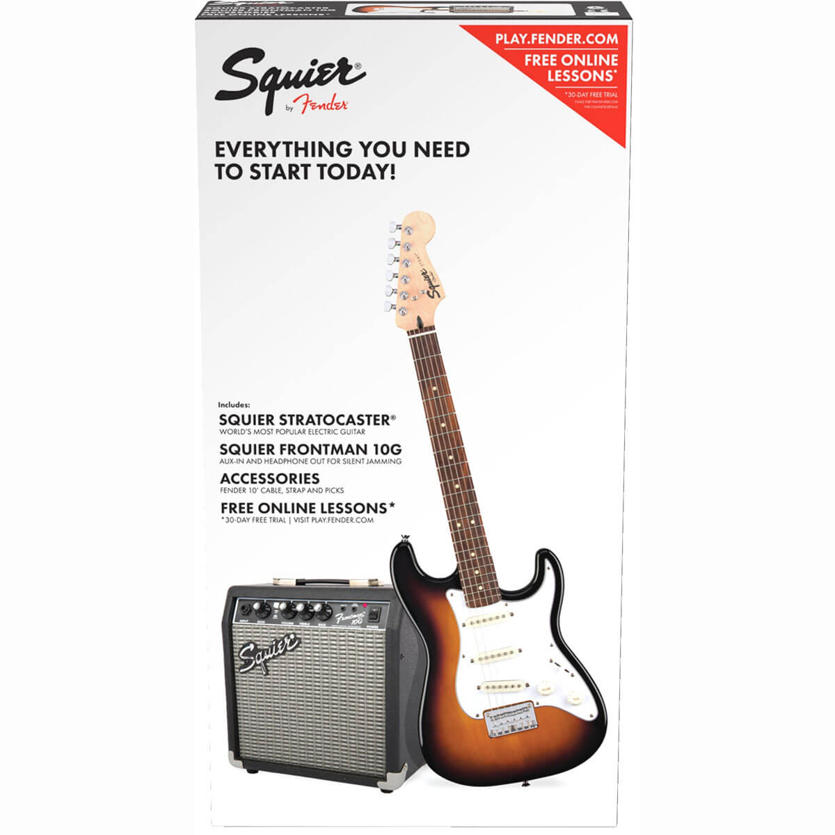 Image of   Fender Squier Strat SS Pack BSB el-guitar-pakkeløsning brown sunburst