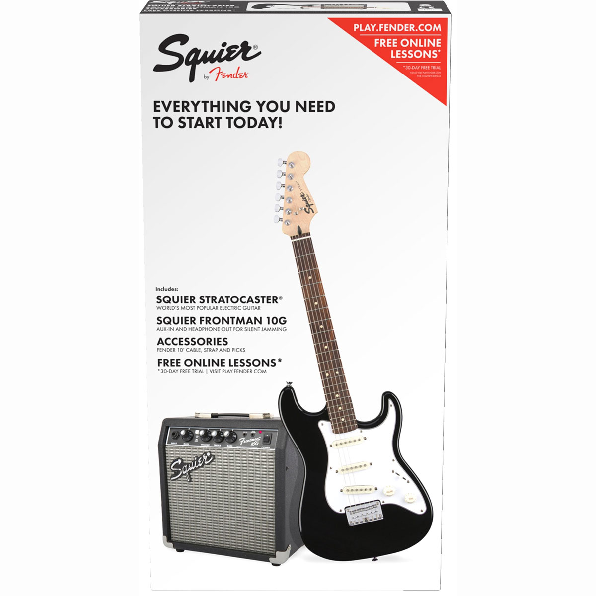 Image of   Fender Squier Strat SS Pack BLK el-guitar-pakkeløsning sort