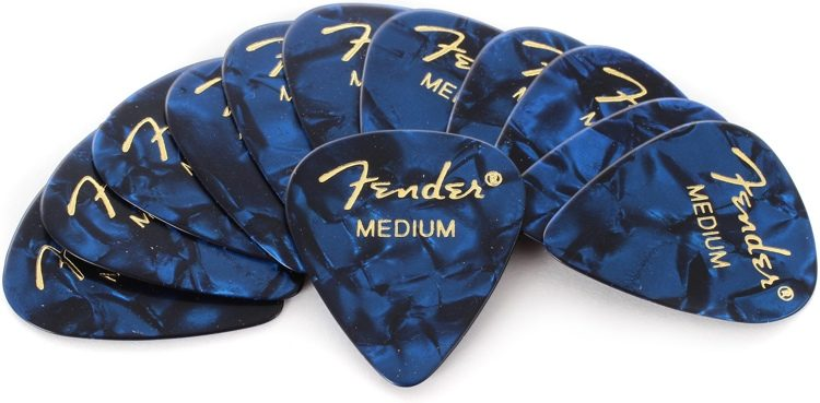 Image of   Fender 351 Shape Premium, Medium plektre (12 stk.) blue moto