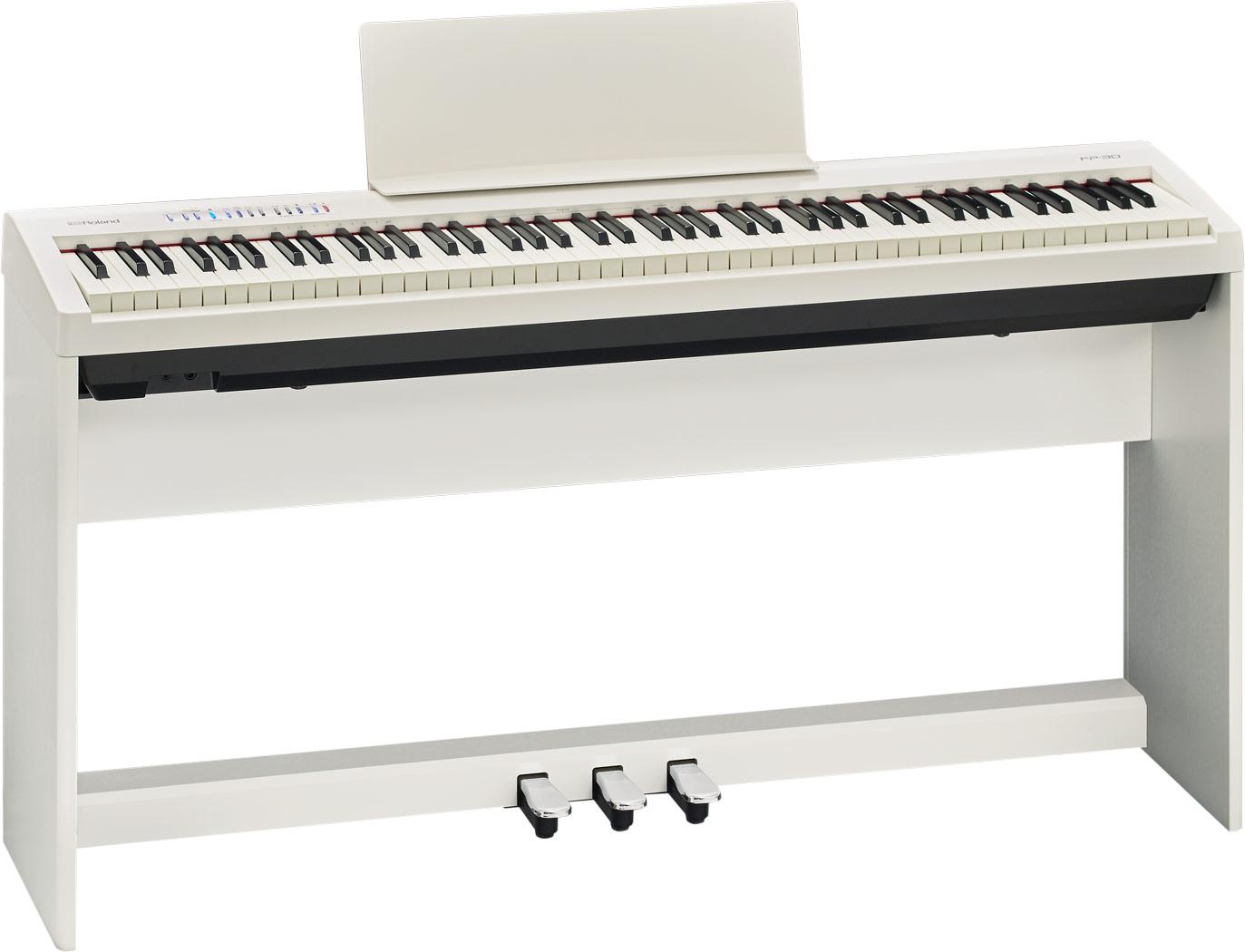 Roland elklaver FP30-WH med KSC70-WH ben og KPD70-WH pedaler